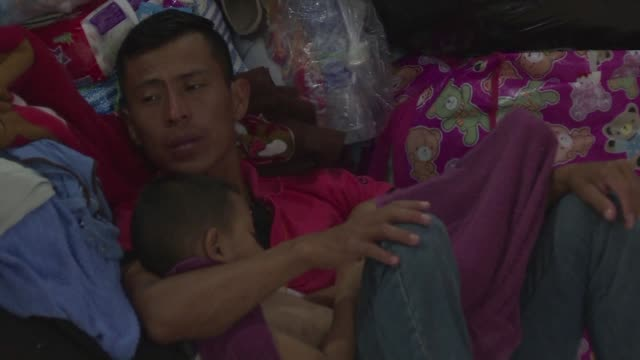 hundreds of survivors of guatemala's volcanic eruption take shelter in a church as the death toll from the disaster of fuego volcano climbs above 100 - guatemala stock videos & royalty-free footage