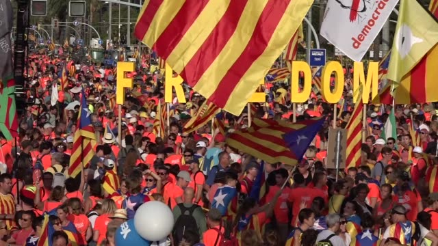 Hundreds of thousands of Catalan separatists let out a collective shout as they marched along a main artery in Barcelona on Tuesday marking the first...