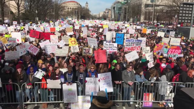 hundreds of thousands of demonstrators including students teachers and parents are expected to gather for the antigun violence rally spurred largely... - march for our lives video stock e b–roll