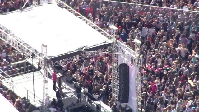 KTLA Hundreds of thousands of people marched from Pershing Square to City Hall and around downtown for Women's March Los Angeles Saturday one day...