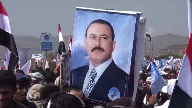 hundreds of thousands of yemenis descended on sanaa thursday in a major show of force for ex president ali abdullah saleh whose alliance with the... - president stock videos & royalty-free footage