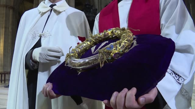 hundreds of visitors waited in line friday to kiss christ's crown of thorns at notredame cathedral in paris - thorn stock videos & royalty-free footage