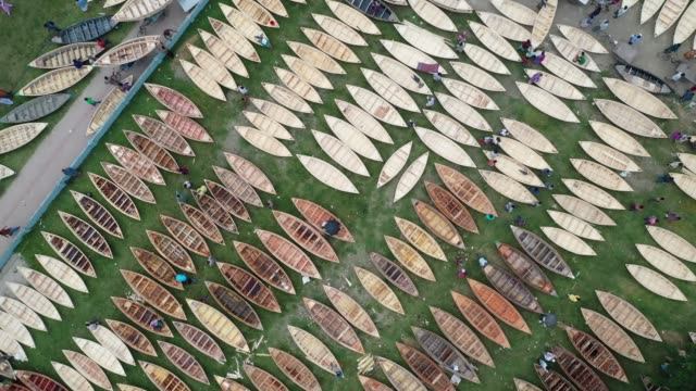 hundreds of wooden boats line up for sale at the boat market near dhaka bangladesh on july 24 2019 during rainy season riverine people of bangladesh... - short phrase stock videos and b-roll footage