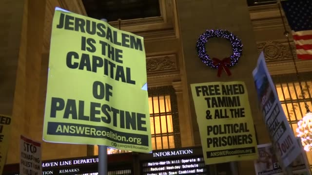 Hundreds on January 05 2018 gather inside of Grand Central Terminal in New York demanding the release of the 16yearold Palestinian activist Ahed...
