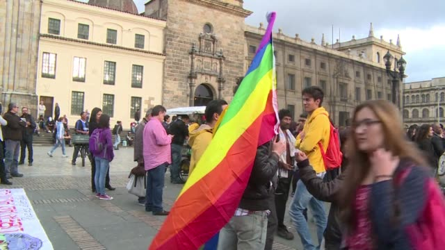 hundreds protest in bogota against homophobia responding to previous protests against a review of school manuals implemented by the government to... - homophobia stock videos & royalty-free footage