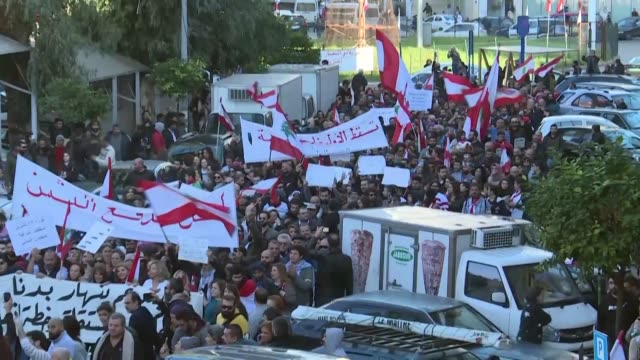hundreds protest in the lebanese capital to denounce a crippling economic crisis and the political deadlock that has left the country without a... - lebanon country stock videos & royalty-free footage
