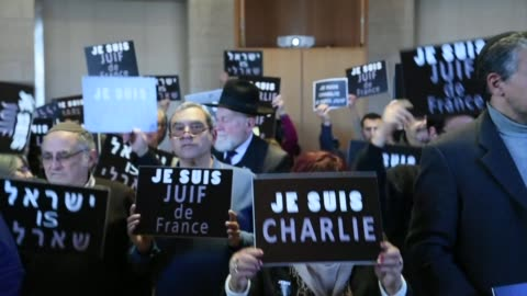 hundreds rallied in jerusalem city hall on sunday in separate shows of solidarity with france over the attacks in paris that left 17 people dead - terrorism stock videos & royalty-free footage
