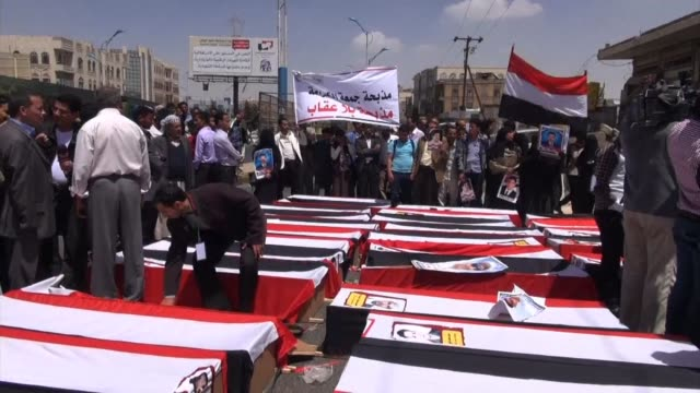 hundreds rallied in yemen's capital on tuesday, on the anniversary of the 2011 killing of 45 protesters against ali abdullah saleh clean : yemen... - yemen stock videos & royalty-free footage