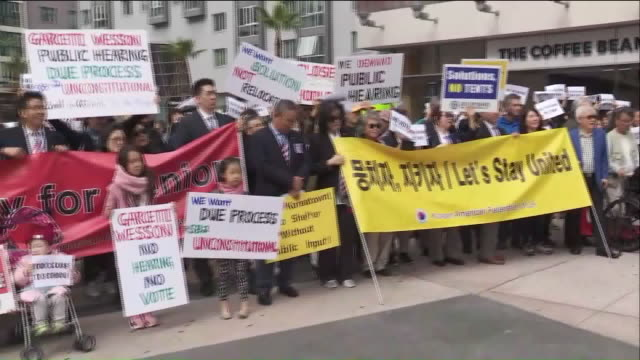 ktla hundreds rally over proposed homeless shelter in koreatown - homeless shelter stock videos and b-roll footage