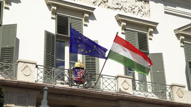 Hungarian and European Flags Waving At Sándor In Budapest