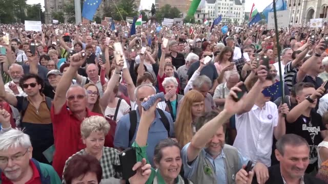 hungarian antigovernment protestors take to the streets after strongman viktor orban was nominated for reelection as prime minister for a third... - hungary stock videos & royalty-free footage