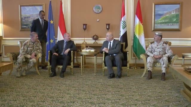 vídeos de stock e filmes b-roll de hungarian defense minister istvan simicsko arrives at arbil international airport as arbil governor nevzad hadi welcomes him in iraqi kurdish... - cultura húngara