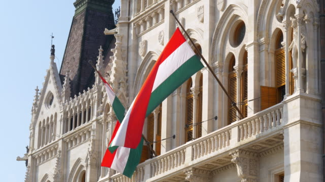 hungarian flag at the parliament building in budapest - budapest stock videos & royalty-free footage