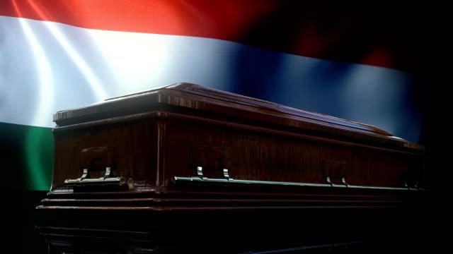 vídeos y material grabado en eventos de stock de bandera húngara detrás del ataúd - cultura húngara
