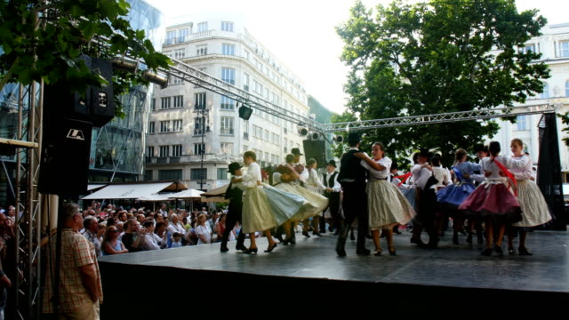 hungarian folk dance during cultural show in budapest - traditionally hungarian stock videos & royalty-free footage