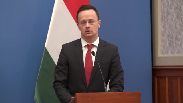 hungarian foreign affairs and trade minister peter szijjarto holds a press conference with liechtenstein's foreign affairs education and culture... - hungarian culture stock videos & royalty-free footage