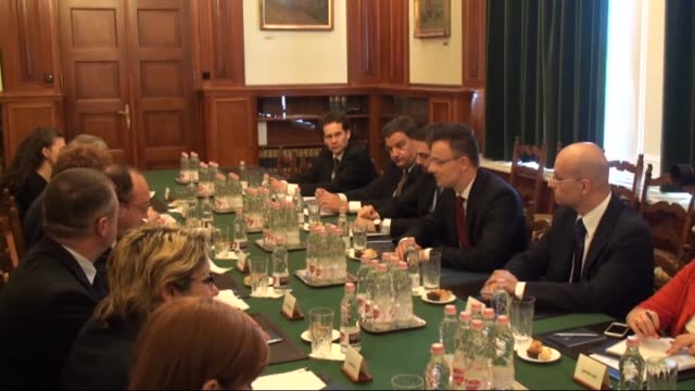 hungarian foreign affairs and trade minister peter szijjarto meets with romanian foreign affairs minister bogdan aurescu and hold press conference... - traditionally hungarian stock videos & royalty-free footage