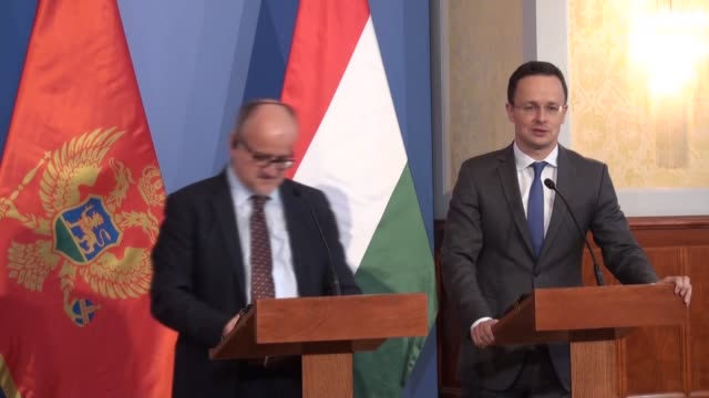 hungarian foreign minister peter szijjarto and montenegro's foreign minister srdjan darmanovic attend joint press conference after their meeting in... - eastern european culture stock videos and b-roll footage