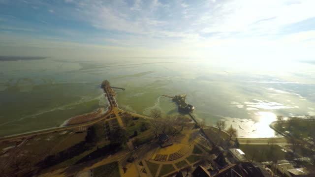 vídeos y material grabado en eventos de stock de vista aérea del lago balaton húngaro - punto de referencia natural