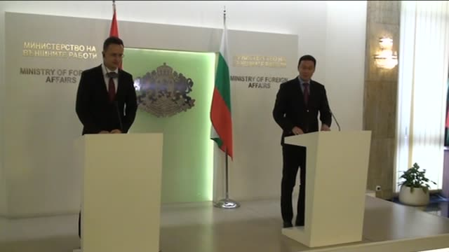 hungarian minister of foreign affairs and trade peter szijjarto and bulgarian foreign minister daniel mitov attend a joint press conference in sofia... - traditionally hungarian stock videos & royalty-free footage