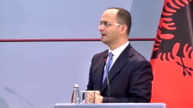 hungarian minister of foreign affairs and trade peter szijjarto and albanian foreign minister ditmir bushati hold a press conference after their... - eastern european culture stock videos and b-roll footage