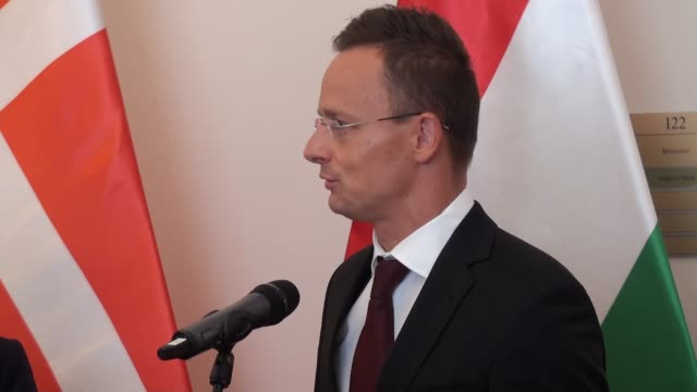 hungarian minister of foreign affairs and trade peter szijjarto and danish foreign affairs minister anders samuelsen holds a joint press conference... - eastern european culture stock videos & royalty-free footage
