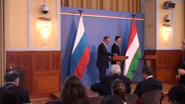 hungarian minister of foreign affairs and trade peter szijjarto holds a joint press conference with his russian counterpart sergei lavrov in the... - osteuropäische kultur stock-videos und b-roll-filmmaterial