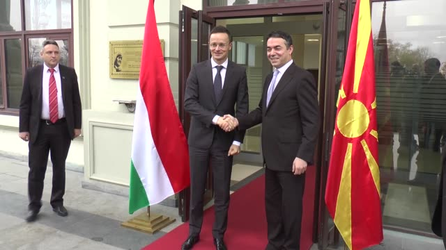 Hungarian Minister of Foreign Affairs and Trade Peter Szijjarto meets with Macedonian Foreign Minister Nikola Poposki in Skopje Macedonia on December...