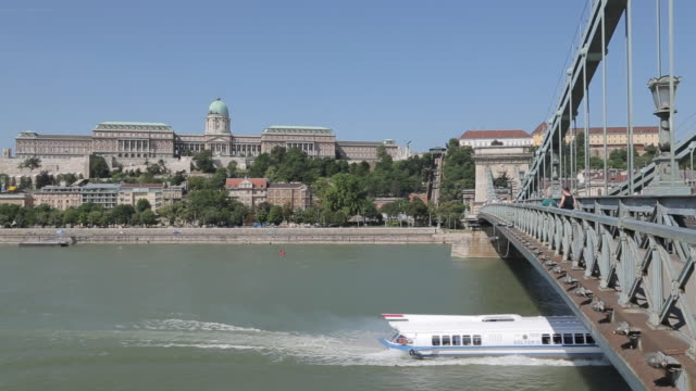 hungarian nation gallery from chain bridge szechenyi lamchid,& river danube, budapest, hungary, europe - traditionally hungarian stock videos & royalty-free footage