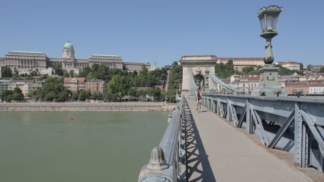Hungarian Nation Gallery from Chain Bridge Szechenyi Lamchid,& River Danube, Budapest, Hungary, Europe