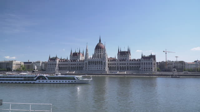 hungarian parliament at the day of blue sky and summer, budapest,tilt view , point of view while walking on street to sightseeing - traditionally hungarian stock videos & royalty-free footage