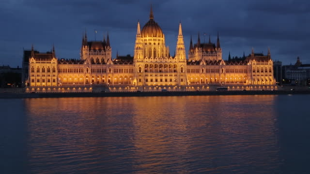 Hungarian Parliament Building & River Danube at Dusk, Budapest, Hungary, Europe