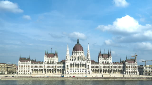 tl: hungarian parliament building under cloudy, budapest, hungary - hungary stock videos & royalty-free footage
