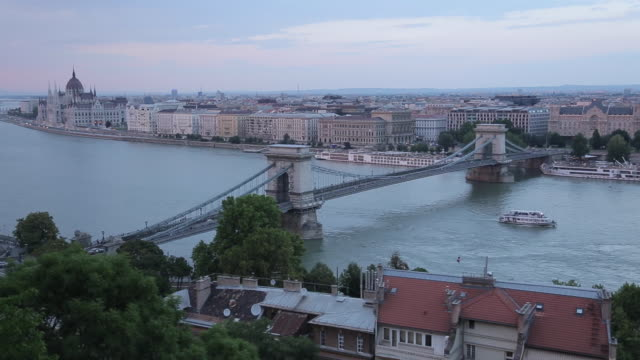 hungarian parliament, chain bridge szechenyi lamchid, & river danube from castle hill district, budapest, hungary, europe - széchenyi chain bridge stock videos & royalty-free footage