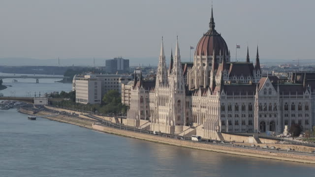 hungarian parliament & river danube from castle hill district, budapest, hungary, europe - castle hill budapest stock videos and b-roll footage