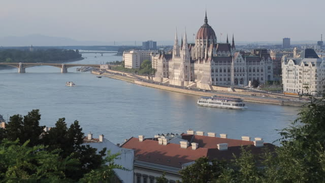 hungarian parliament & river danube from castle hill district, budapest, hungary, europe - parliament hill stock videos & royalty-free footage