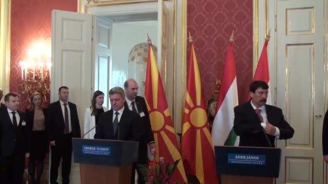 hungarian president janos ader holds a joint press conference with macedonian president gjorge ivanov after their meeting in budapest hungary on... - eastern european culture stock videos and b-roll footage
