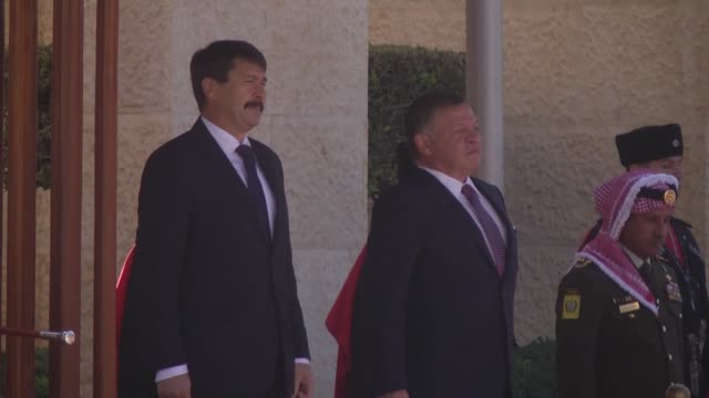 Hungarian President Janos Ader meets with King Abdullah II of Jordan in Amman Jordan on November 06 2017