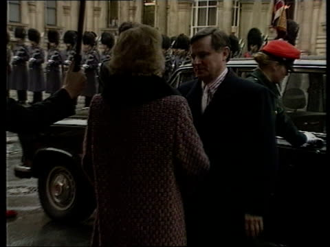 hungarian prime minister miklos nemeth visits uk; emgland: london: ext miklos nemeth out of car and greeted by margaret thatcher under umbrella... - eastern european culture stock videos & royalty-free footage