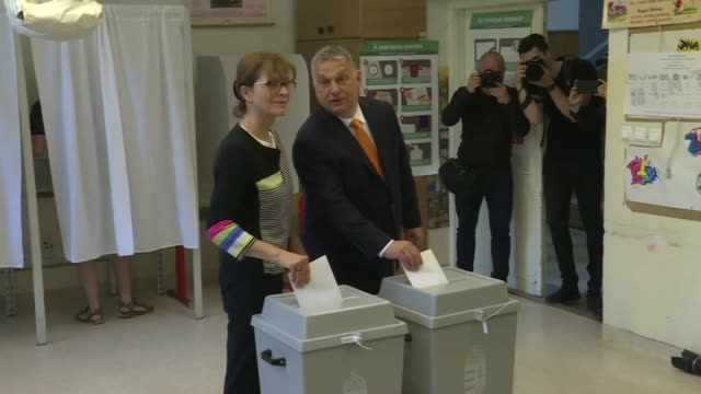 Hungarian Prime Minister Viktor Orban casts his vote in European parliament elections