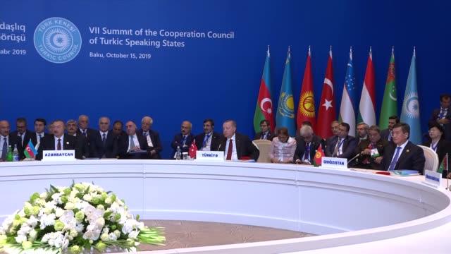 vidéos et rushes de hungarian prime minister viktor orban delivers a speech during the 7th summit of turkic council at fairmont hotel in baku on october 15 2019 - culture de l'europe de l'est