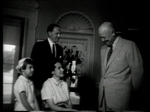 Hungarian refugee family meets President Dwight D Eisenhower at the White House / Washington DC United States