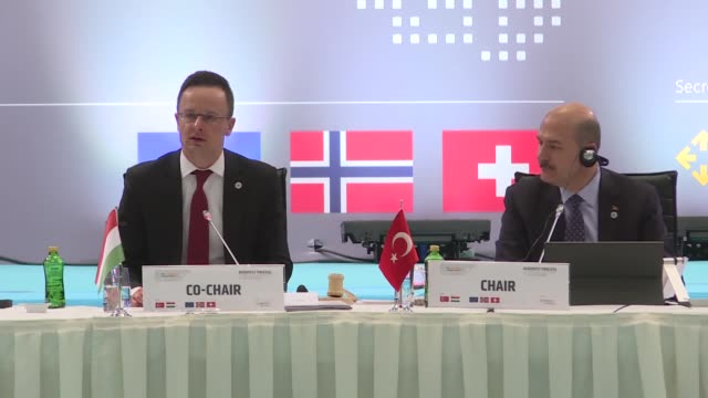hungarian trade minister peter szijjarto speaks during the 6th ministerial conference of budapest process in istanbul on february 20 2019 - hungarian culture stock videos & royalty-free footage