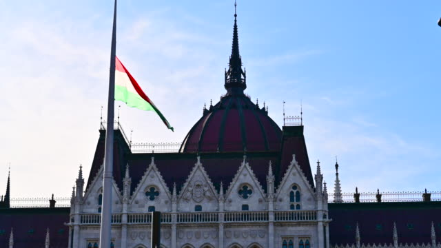 hungary flag on parliament building in budapest - eastern european culture stock videos & royalty-free footage