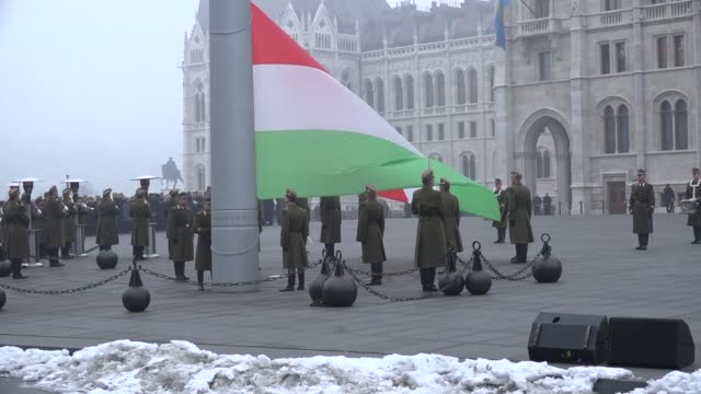 hungary flies black flags at half-mast as part of a national day of mourning for the young victims of a coach accident in italy that killed 16 people... - budapest stock videos & royalty-free footage