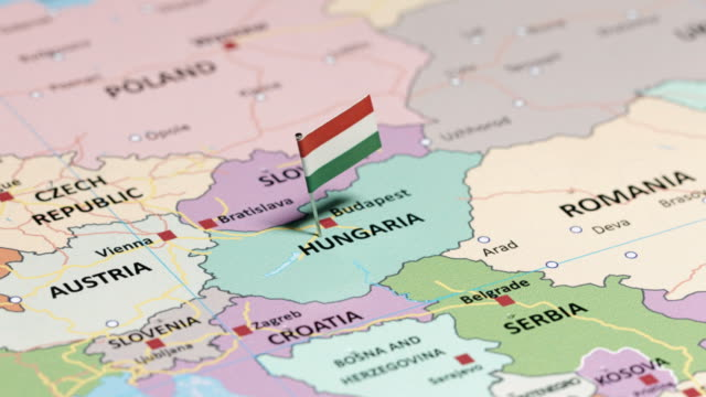hungary with national flag - croazia video stock e b–roll