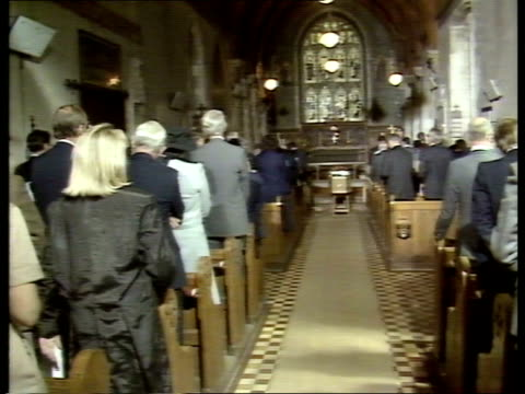 hungerford victims; england: berkshire: great shefford: st mary's church pallbearers towards in churchyard with eric vardy's coffin cms ditto r-l... - congregation stock videos & royalty-free footage