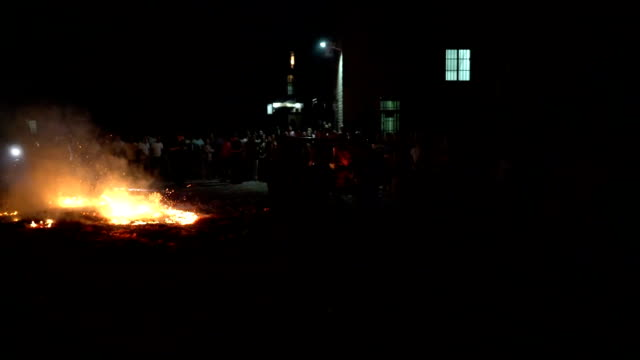 Hungry Ghost Festival in Wangjia Village at night in Taihe County