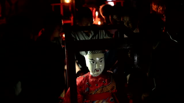 hungry ghost festival in wangjia village at night - hungry stock videos & royalty-free footage
