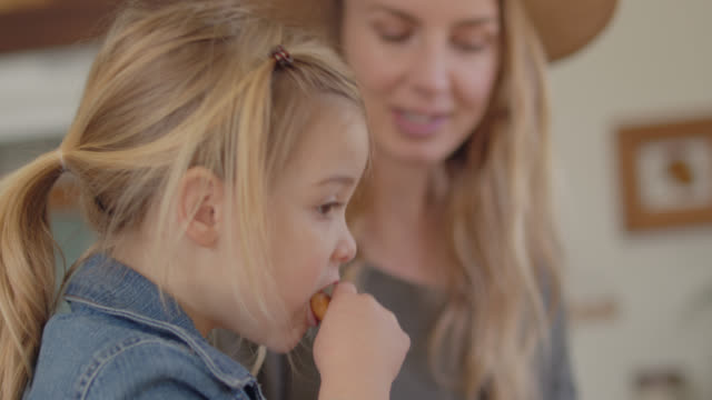 cu hungry girl bites into a whole grain breakfast bar as her mother talks in kitchen - childhood stock videos & royalty-free footage